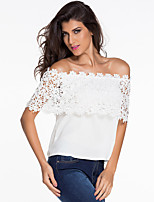 Women's Going out Casual/Daily Cute Blouse,Solid Boat Neck Short Sleeve Polyester