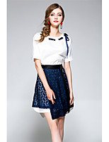 NEDO Women's Going out Holiday Simple Street chic Spring Summer T-shirt Skirt SuitsSolid Round Neck Short Sleeve Split Inelastic
