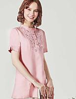 Damen Solide Druck Einfach Lässig/Alltäglich Hemd,Rundhalsausschnitt Kurzarm Baumwolle Leinen