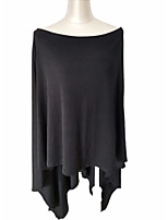 Women's Going out Long Cloak / Capes,Solid Boat Neck Long Sleeve Cotton All Seasons Thin Micro-elastic