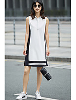 AMIIWomen's Casual/Daily Loose DressSolid Striped Shirt Collar Above Knee Sleeveless Cotton Polyester Summer Mid Rise Micro-elastic Thin