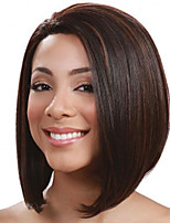 Medium Long Straight Dark Brown Color Bobo Hair Wigs High Temperature Fiber Synthetic Hair Ombre Wig for Women