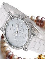 Женские Модные часы Кварцевый Керамика Группа Повседневная Белый