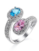 Ring Engagement Ring Sapphire AAA Cubic Zirconia Fashion Classic Elegant Gemstone Round Jewelry For Wedding Party