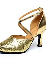 Non Customizable Women's Latin Paillette Heels Indoor Sequin Buckle Cuban Heel Gold 2