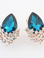 Euramerican  Elegant Classic Luxury Droplets  Rhinestone Gem Women's Party Clip Earrings Movie Jewelry