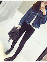 Women's Casual/Daily Vintage Street chic Spring Fall Denim Jacket,Solid Shirt Collar Long Sleeve Regular Oxford cloth Cut Out