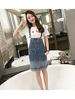 Sign Korean wild washed denim pocket frayed strap dress was thin dress skirt