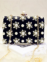 Women Evening Bag PU All Seasons Event/Party Formal Baguette Pearl Detailing Magnetic Black