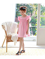 Girl's Solid Color Dress,Cotton Bamboo Fiber Summer Sleeveless