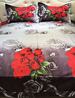 red rose diamond style printed queen size polyester and cotton bedding sets 4pcs bed sheet pillowcase duvet cover set