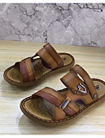 Men's Sandals Comfort Nappa Leather Cowhide Spring Casual Light Brown Flat