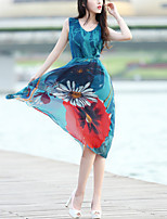 Women's Plus Size Holiday Going out Boho Swing Dress,Print V Neck Midi Sleeveless Polyester Summer High Rise Inelastic Thin