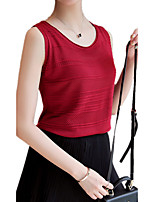 Women's Wild Simple Solid Round Neck Sleeveless Knitwear Pullover Regular Vest