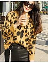 Normal Pullover Femme simple Chic de Rue,Léopard Col Arrondi Manches Longues Acrylique Hiver Moyen Micro-élastique