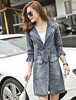 Women's Daily Casual Spring/Fall Denim Jacket,Solid Shirt Collar Half-Sleeve Long Denim