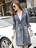 Women's Daily Casual Spring/Fall Denim Jacket,Solid Shirt Collar Half-Sleeve Long Denim