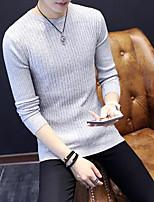 Herren Standard Pullover-Lässig/Alltäglich Solide Rundhalsausschnitt Ärmellos Kunstseide Frühling Herbst Mittel Mikro-elastisch