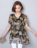 Women's Casual/Daily Street chic Sophisticated Blouse,Print V Neck Short Sleeve Polyester