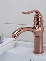 Antique Centerset Waterfall with  Ceramic Valve Single Handle One Hole for  Antique Copper , Bathroom Sink Faucet