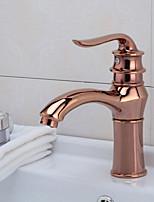 Moderne Set de centreSoupape céramique Mitigeur un trou for  Or rose , Robinet lavabo