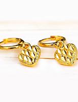 Gold Heart Love Drop Earrings Vintage Carved Jewelry For Wedding Party Engagement Gift Valentine