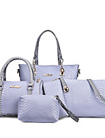 Women Bag Sets PU All Seasons Formal Sports Casual Wedding Barrel Zipper Purple Gray Black White Blue