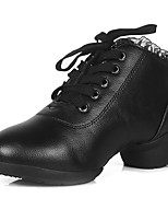Women's Dance Shoes Dance for Sneakers/Modern Leather fabric/ Breathable Fashion Black color lace-up Customizable