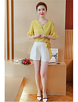 Women's Casual/Daily Cute Spring Summer Blouse Pant Suits,Solid V Neck Half Sleeve