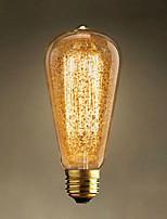 1pcs 60w st64 flocon de neige d'or e27 ampoules vintage edison ampoules incandescentes filament rétro lumière pour lampe suspension