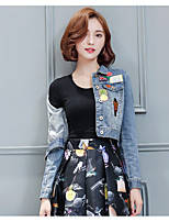 Women's Casual/Daily Simple Spring Denim Jacket,Solid Shirt Collar Short Cotton