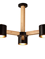 LightMyself 3 Lights Chandelier Modern/Contemporary Traditional/Classic Vintage Country Wood Feature for LED Wood Living Room Bedroom Dining Room