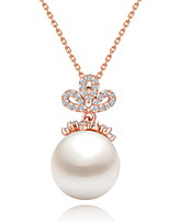 Women's Pendant Necklaces Jewelry Jewelry Pearl Zircon Alloy Unique Design Fashion Euramerican Jewelry ForWedding Party Birthday