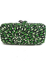Women Vintage Peacock Green Crystal Glass Evening Hand Clutches