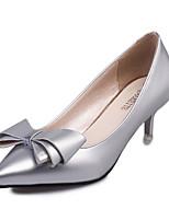 Women's Heels PU Spring Fall Walking Bowknot Low Heel Black Silver Purple Ruby Blushing Pink Under 1in