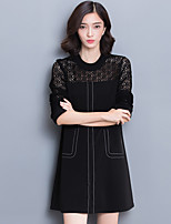 Damen A-Linie Kleid-Ausgehen Lässig/Alltäglich Solide Rundhalsausschnitt Mini Langarm Polyester Sommer Mittlere Hüfthöhe Mikro-elastisch