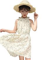 Девичий Платье Полиэстер Цветочный принт Лето Без рукавов