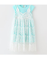 Girl's Solid Color Dress,Cotton Polyester Summer Short Sleeve
