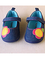 Girls' Flats First Walkers Denim Spring Fall Casual Walking First Walkers Magic Tape Low Heel Blue Flat