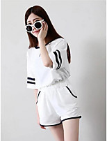 Women's Casual/Daily Simple Street chic T-shirt Pant Suits,Striped Round Neck 3/4 Sleeve