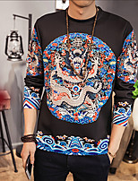 Men's Daily Sweatshirt Print Round Neck Micro-elastic Cotton Long Sleeve Spring