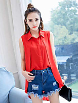 Women's Casual/Daily Simple Blouse,Solid Shirt Collar Sleeveless Polyester