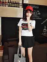 Women's Going out Simple Cute Active Summer T-shirt,Letter Round Neck Short Sleeve Cotton Medium