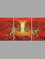 Hand-Painted Abstract Oil Painting Red branches Kiss between husband and wife With Stretcher Frame Ready To Hang