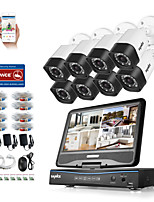 SANNCE® 8CH 8PCS 720P DVR Weatherproof Surveillance Security System with Build in LCD Monitor Supported Analog AHD TVI IP Camera