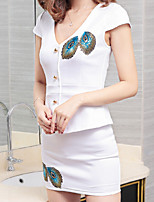 Women's Casual/Daily Work Sexy Simple Summer T-shirt Skirt Suits,Solid Print Deep V Short Sleeve