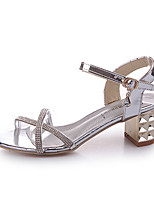 Women's Heels PU Spring Summer Fall Chunky Heel Gold Silver 1in-1 3/4in