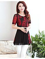 Women's Casual Vintage Summer Blouse,Print Round Neck Short Sleeve Polyester Medium