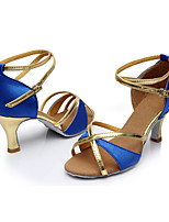 Customizable Women's Latin Satin Leatherette Sandals Indoor Customized Heel Blue
