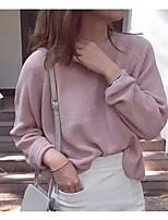 Mujer Regular Pullover NocheUn Color Escote Redondo Manga Larga Algodón Primavera Medio Rígido